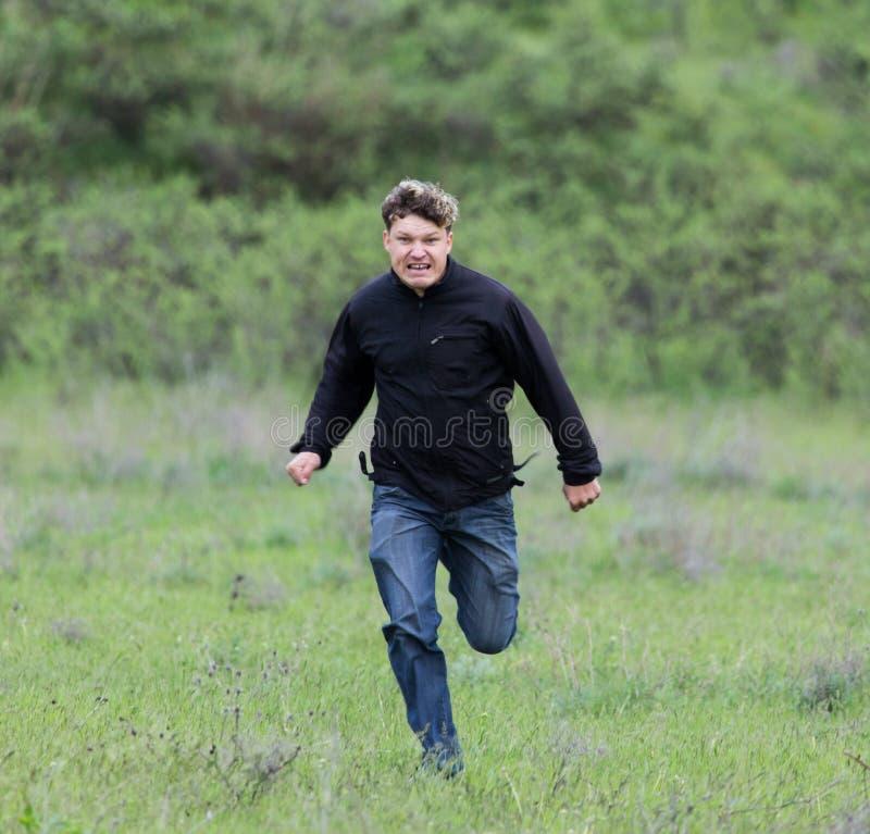 Человек бежать в луге стоковые изображения rf