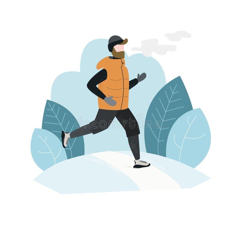 Человек бежать снаружи в сезоне зимы холодном Handdrawn иллюстрация вектора иллюстрация штока