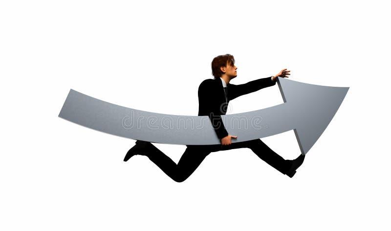 Человек бежать с стрелкой иллюстрация штока