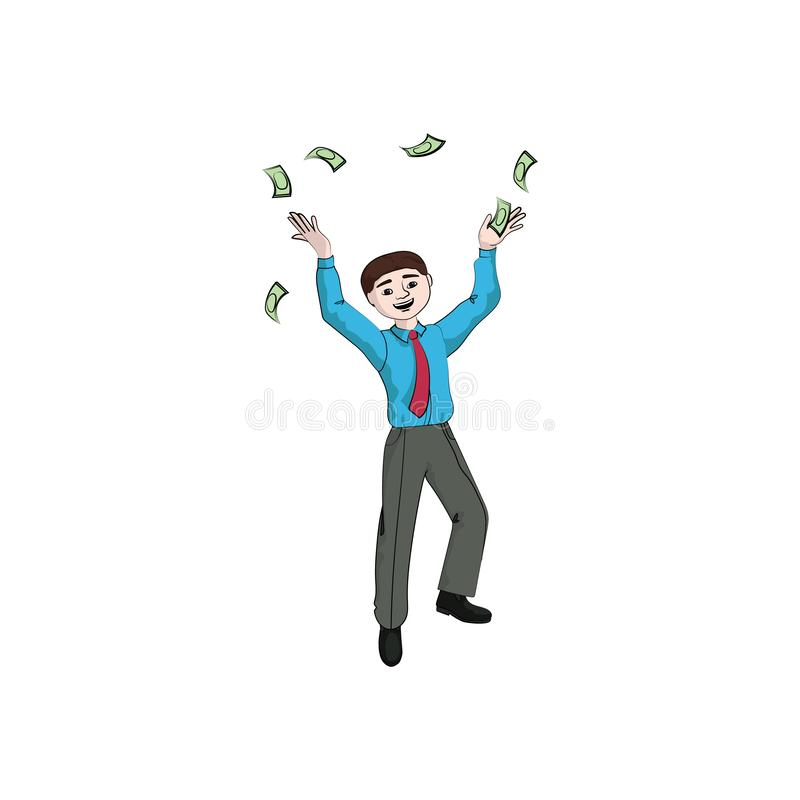 Человек бизнесмена, мальчик бросает дождь денег денег иллюстрация штока