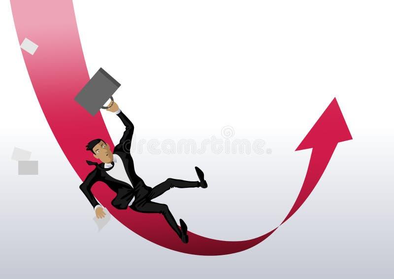 Человек бизнесмена падает вниз красная стрелка и после этого поднимает вверх бесплатная иллюстрация