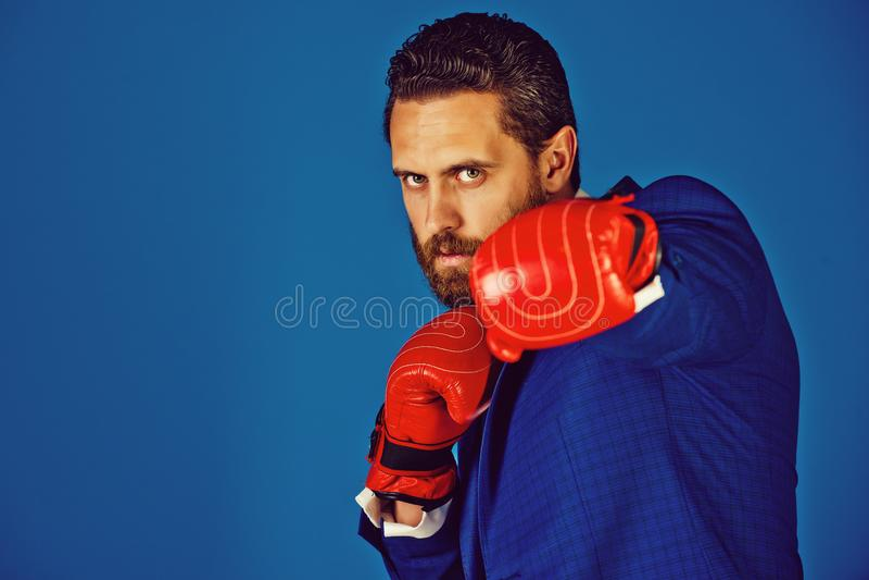 Человек боксера, бизнесмен в обмундировании и красные перчатки бокса стоковая фотография rf