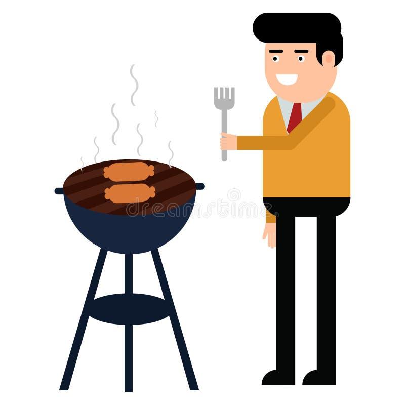 Человек варит гриль барбекю Мясо и сосиски фрая на огне иллюстрация вектора