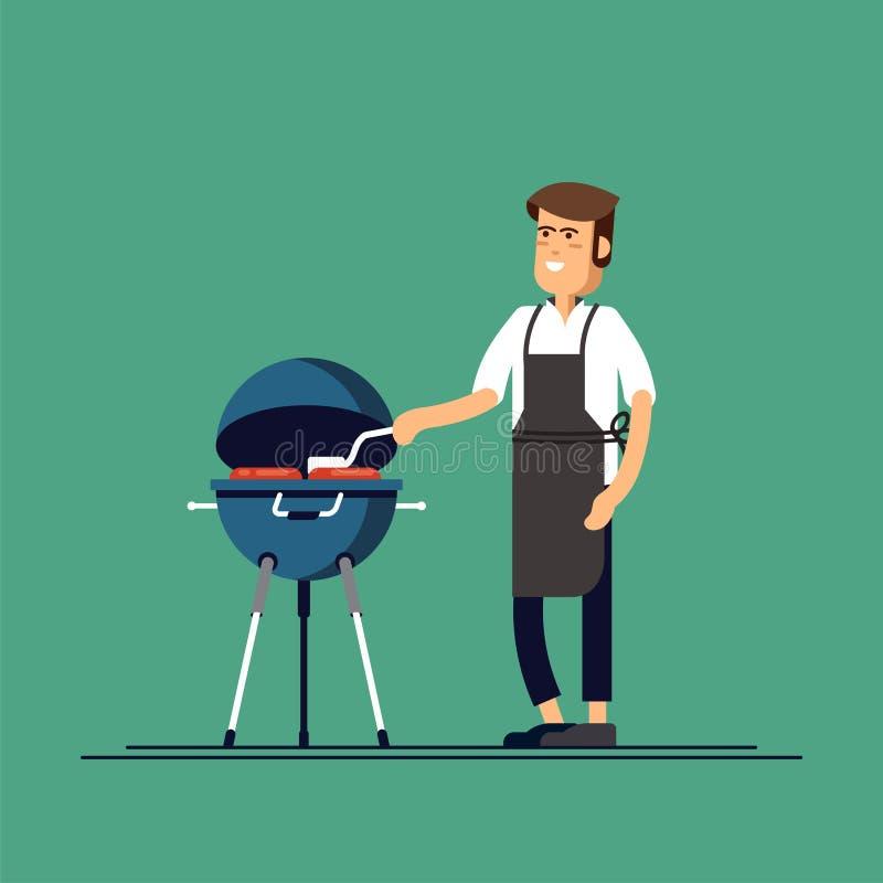 Человек варит гриль барбекю Мясо и сосиски фрая на огне иллюстрация штока