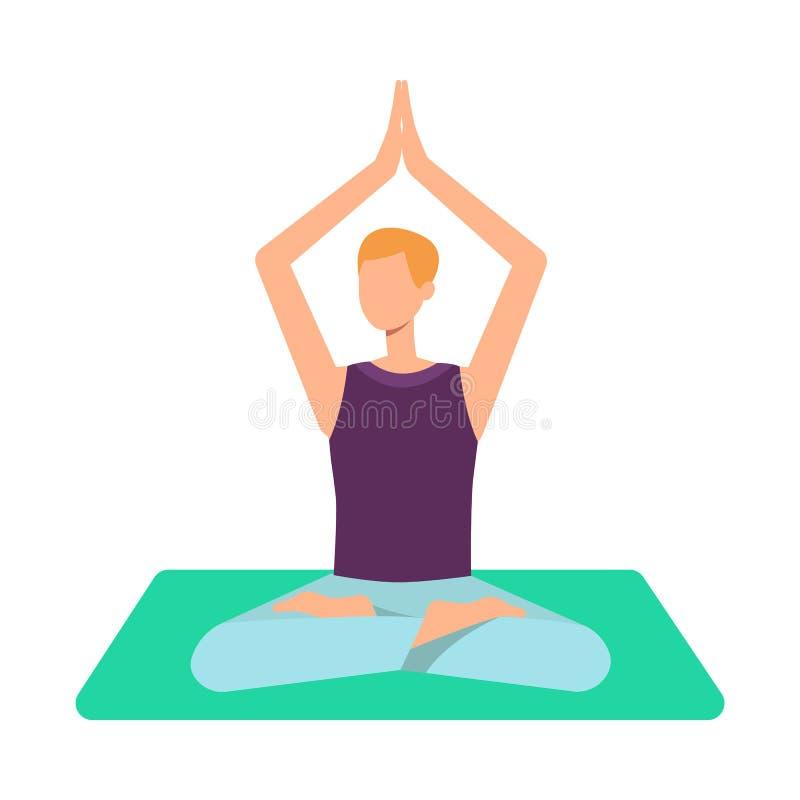 Человек вектора взрослый делая йогу в позиции лотоса бесплатная иллюстрация