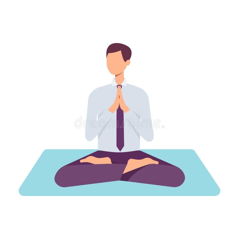 Человек вектора взрослый делая йогу в позиции лотоса иллюстрация штока