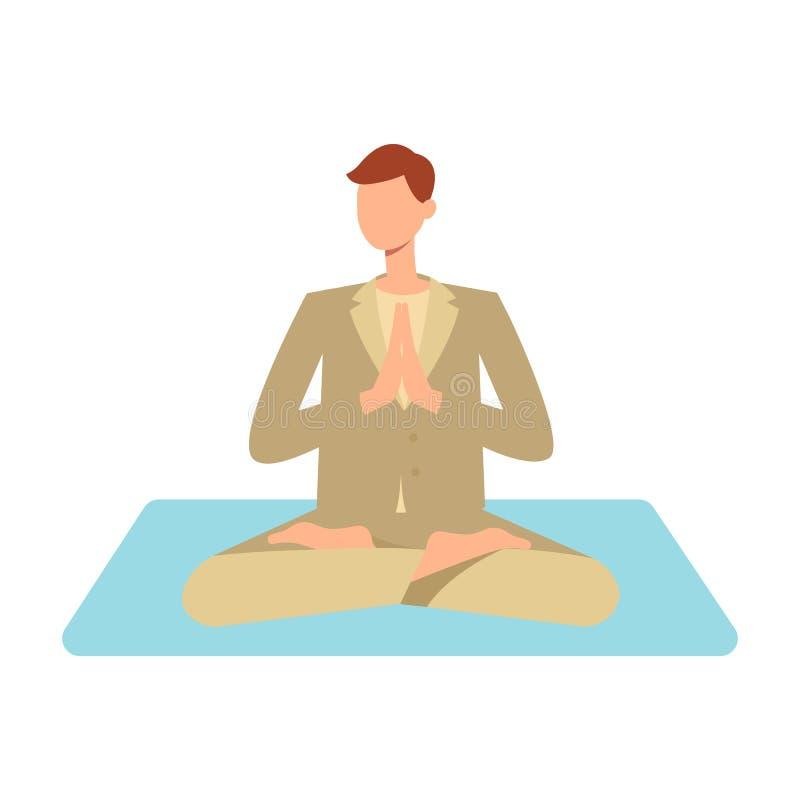 Человек вектора взрослый делая йогу в позиции лотоса иллюстрация вектора