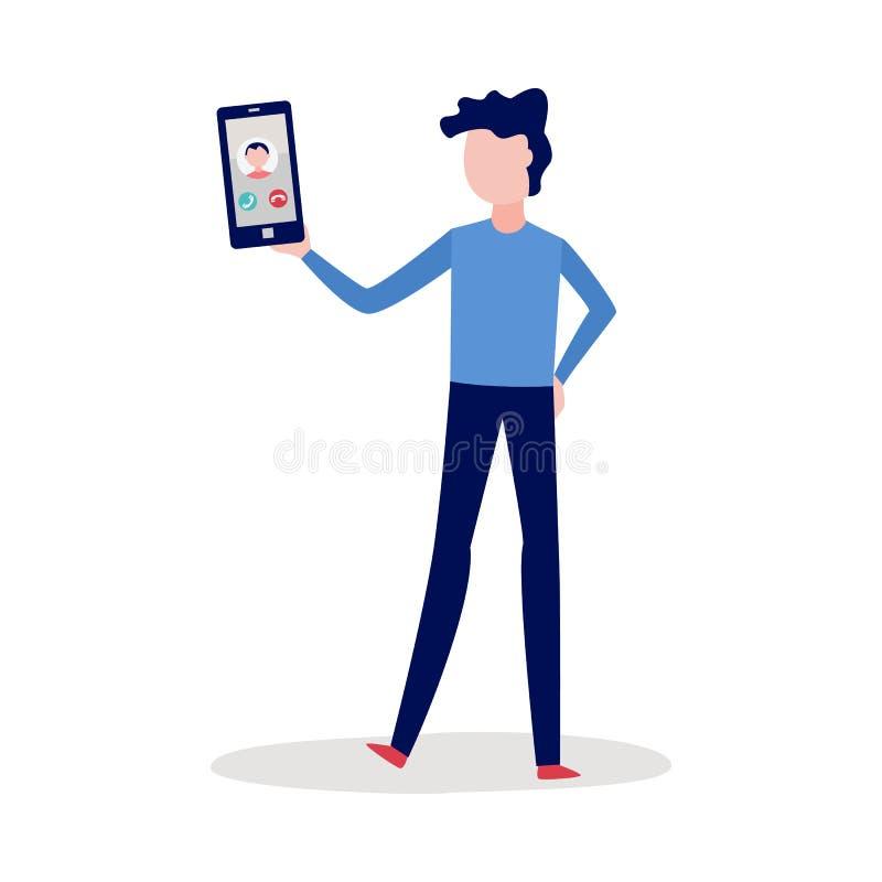 Человек вектора вызывая с видео иллюстрация вектора