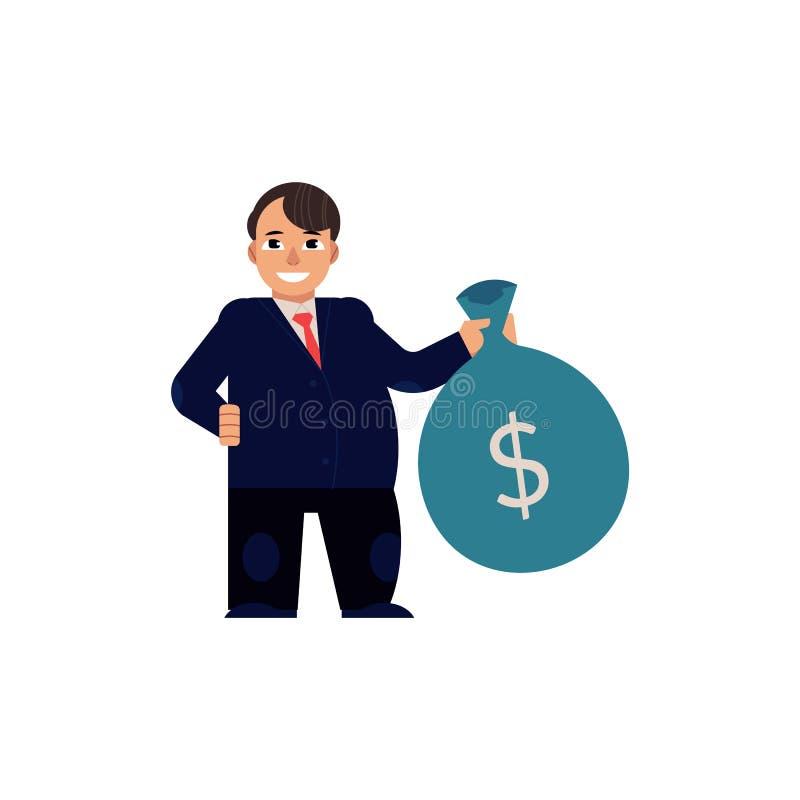 Человек вектора плоский с сумкой с долларами иллюстрация штока