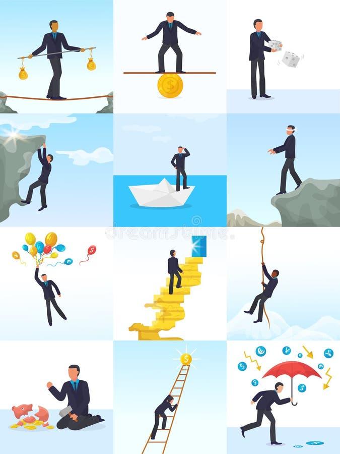 Человек вектора риска бизнесмена в рискованом или опасном деле начинает вверх комплект иллюстрации возможности менеджера финансов бесплатная иллюстрация