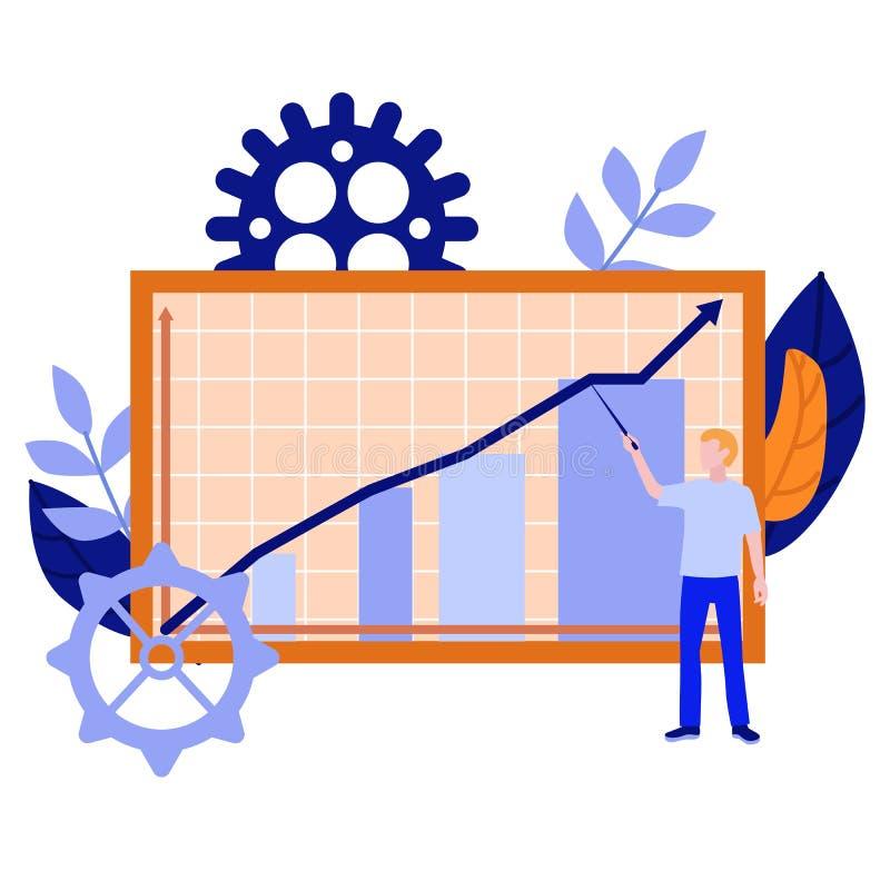 Человек вектора с указателем около диаграммы в виде вертикальных полос диаграммы бесплатная иллюстрация