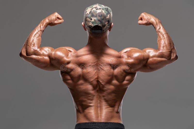 Человек вида сзади мышечный показывая назад мышцы и бицепс, изолированные на серой предпосылке Сильный мужской нагой торс, размин стоковое фото rf