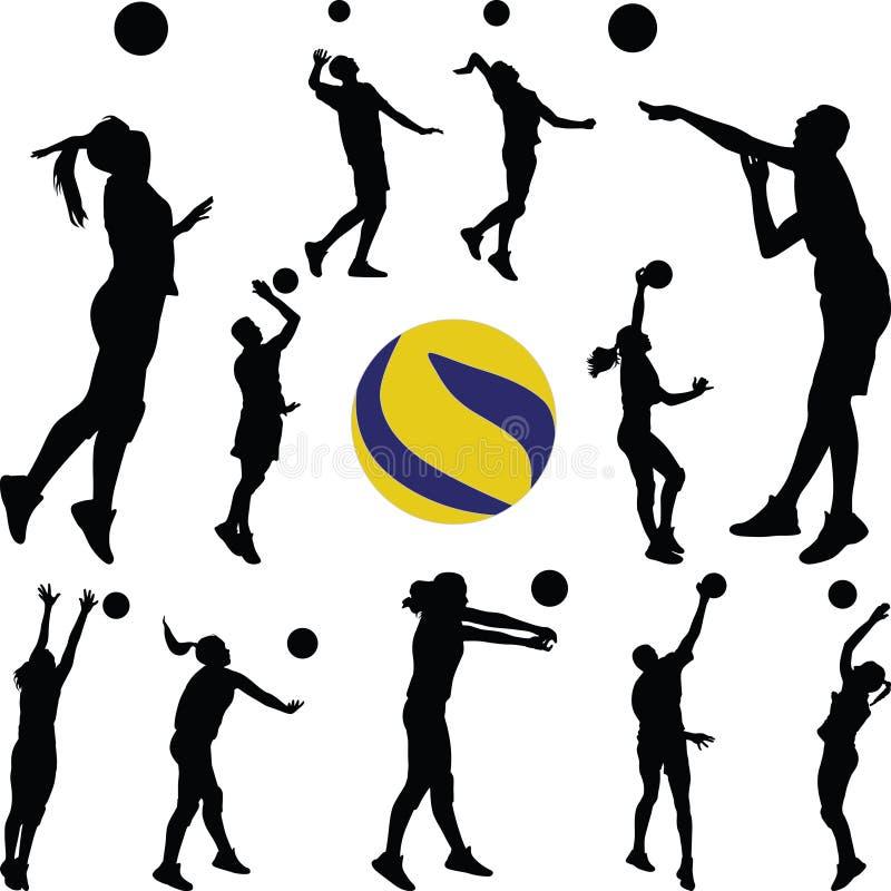 Человек волейбола и игрок женщины стоковые изображения rf