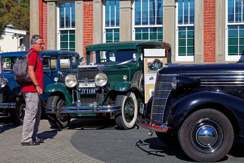 Человек восхищая винтажные автомобили на классическом шоу автомобиля в главной улице Motueka перед музеем стоковое изображение rf