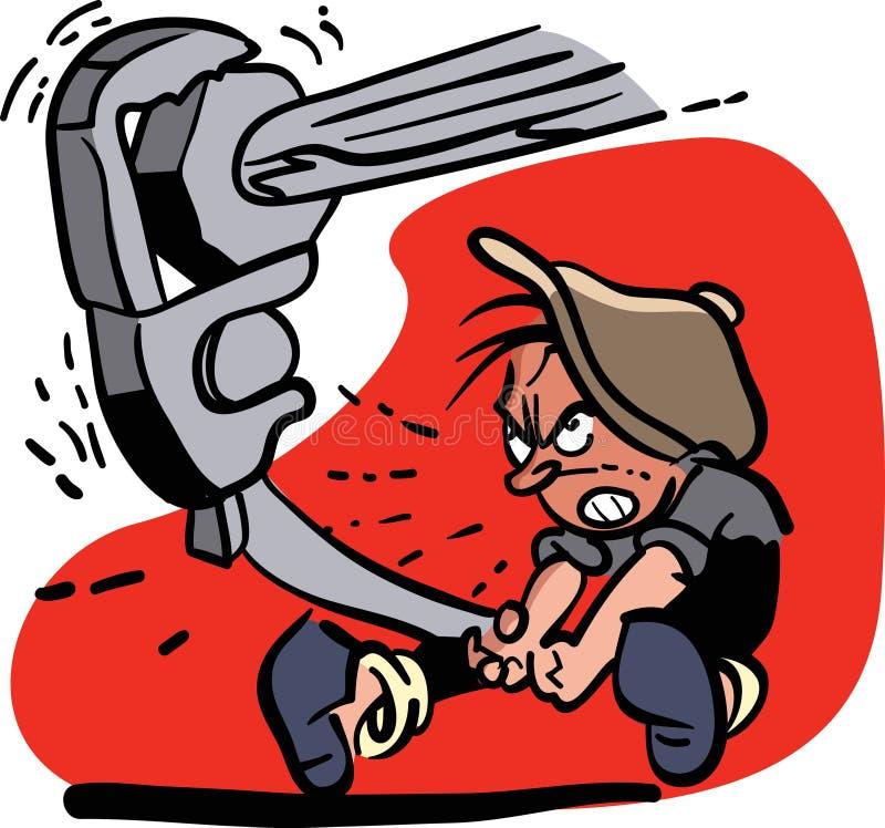 Человек вытягивая крепко на большом ключе бесплатная иллюстрация