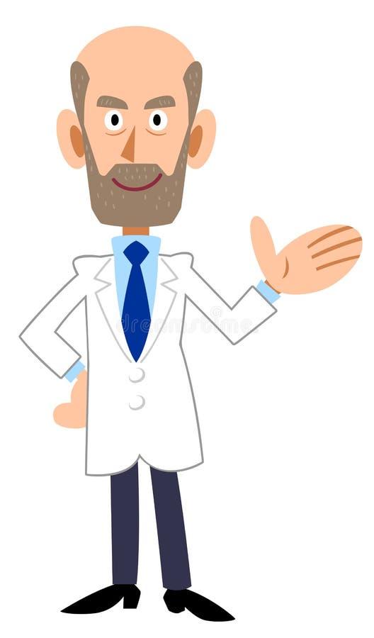 Человек в белом пальто, направить, борода иллюстрация вектора