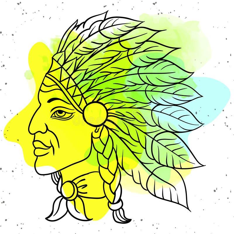 Человек в вожде коренного американца индийском Черная плотва Индийский головной убор пера орла r иллюстрация штока