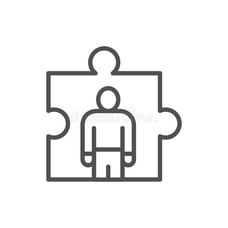 Человек в головоломке, управление человеческих ресурсов, рекрутство и нанимая линия значок иллюстрация вектора