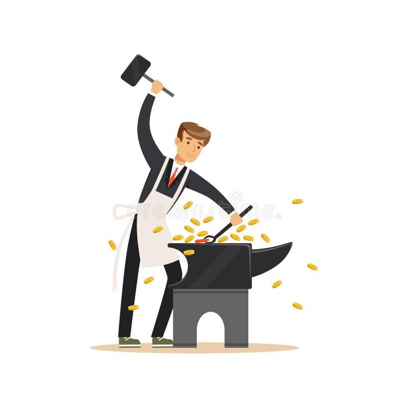 Человек в деловом костюме и белых деньгах вковки рисбермы путем бить молотком на наковальне, делает иллюстрацию вектора концепции бесплатная иллюстрация