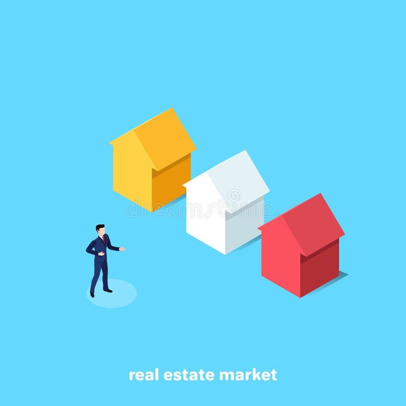 Человек в деловом костюме продает снабжение жилищем иллюстрация вектора