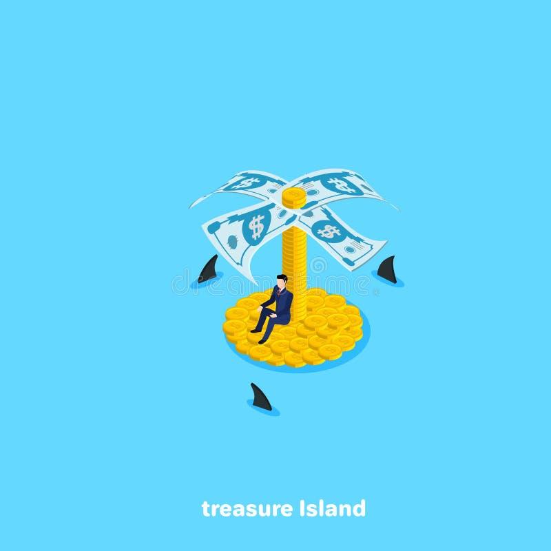 Человек в деловом костюме сидит на острове монеток и вокруг акул заплыва бесплатная иллюстрация