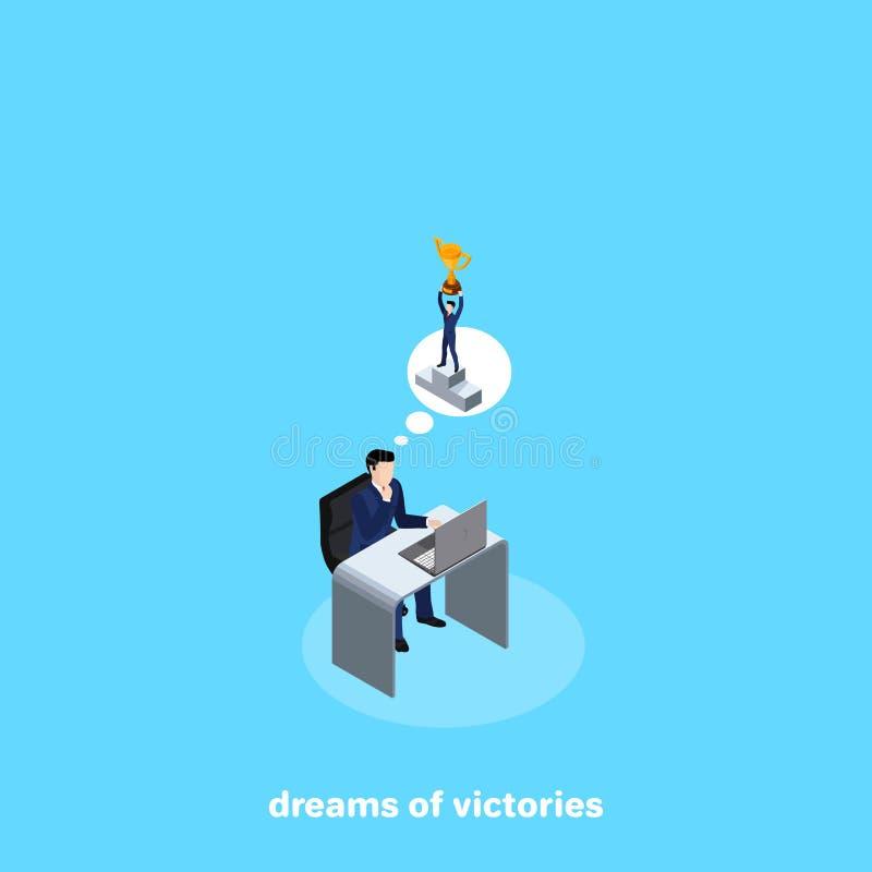 Человек в деловом костюме сидя на его столе думая больших выигрышей бесплатная иллюстрация