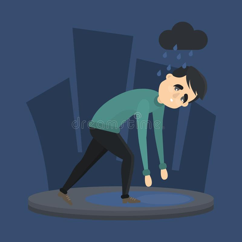 Человек в депрессии иллюстрация вектора