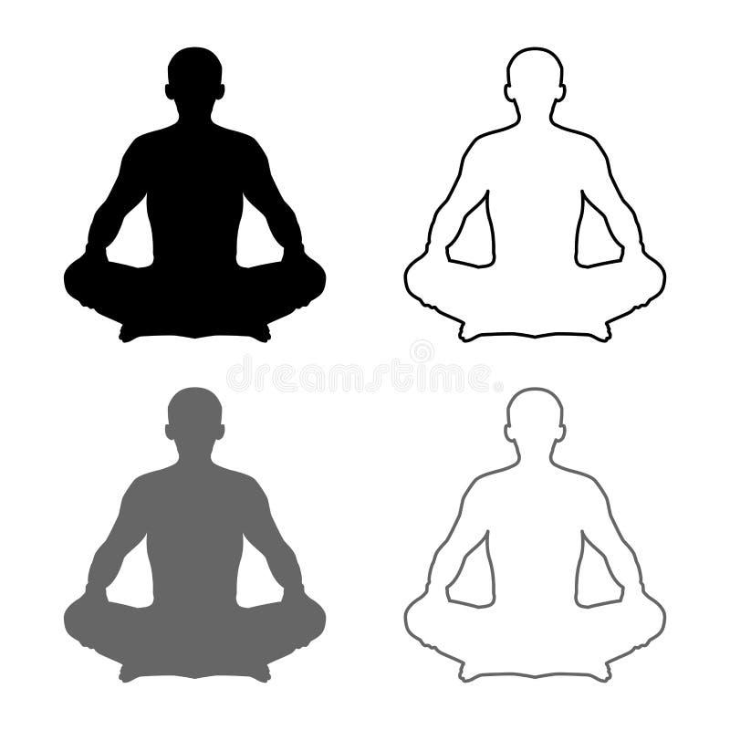 Человек в значке Asana силуэта положения раздумья представления йоги лотоса представления установил стиль серого черного плана ил иллюстрация вектора