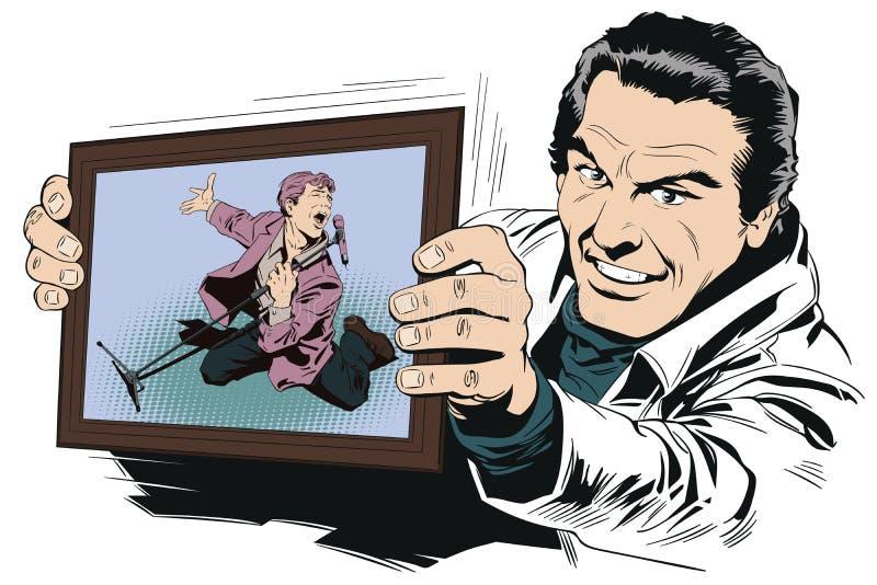 Человек в караоке Воодушевленная певица с микрофоном illustrat запаса иллюстрация вектора
