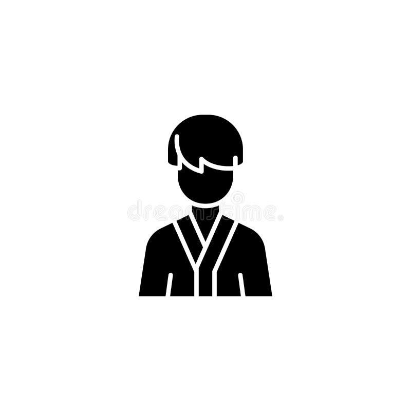 Человек в концепции значка черноты робы Человек в символе вектора робы плоском, знаке, иллюстрации иллюстрация штока