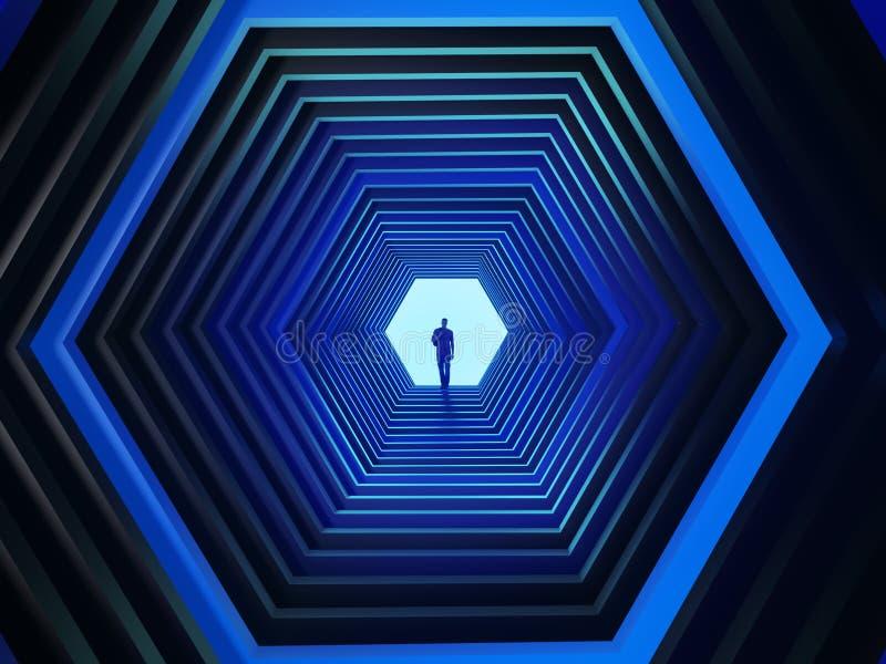 Человек в конце шестиугольного тоннеля иллюстрация вектора