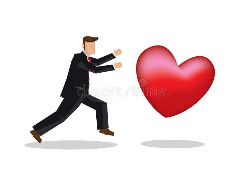 Человек в костюме гоня гигантское сердце бесплатная иллюстрация