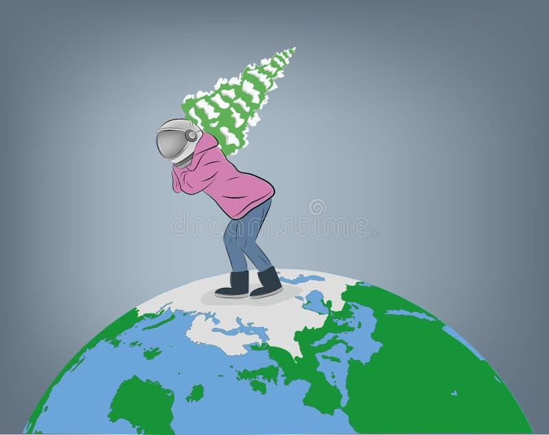 Человек в костюме пилота носит рождественскую елку через землю планеты r иллюстрация вектора