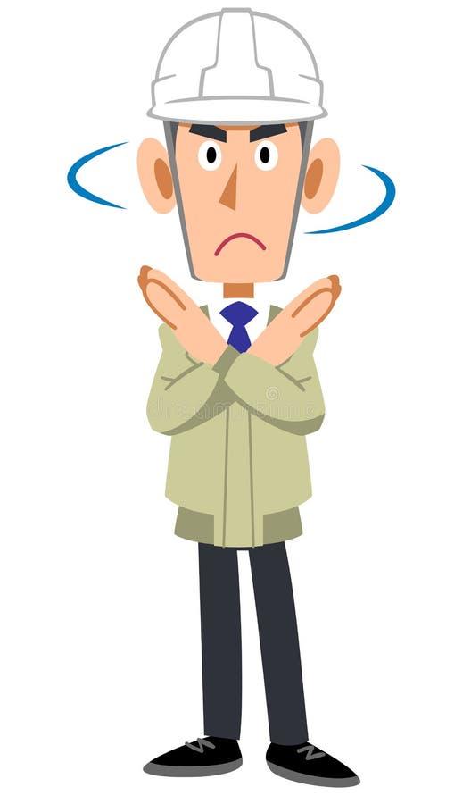 Человек в магазине конструкции нося шлем и показывая жест запирательс иллюстрация штока