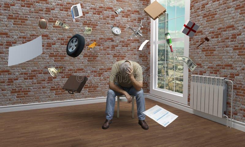 Человек в пустой комнате на табуретке окном стоковое изображение