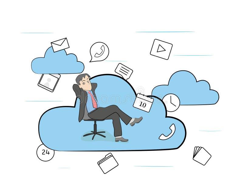 Человек в работая стуле в облаках также вектор иллюстрации притяжки corel иллюстрация штока