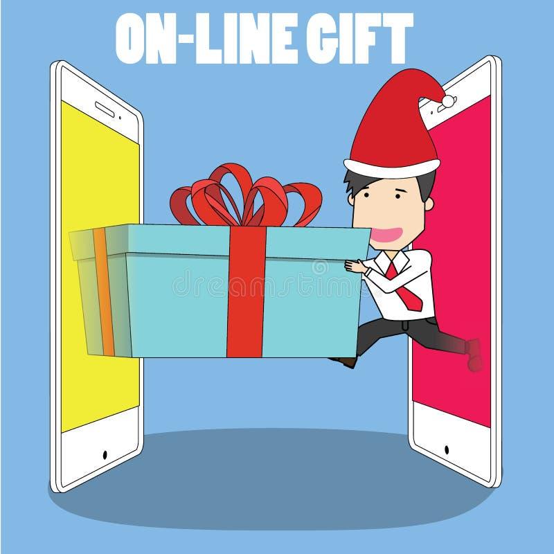 Человек в равномерном принимает вне от умных телефона и подарочной коробки другого иллюстрация вектора