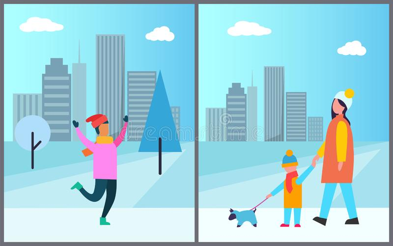 Человек в розовой прогулке свитера, матери и сына с любимцем бесплатная иллюстрация