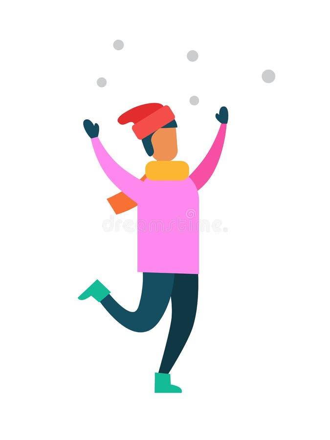 Человек в розовом свитере, шляпе Санты s, в теплых Mittens иллюстрация штока