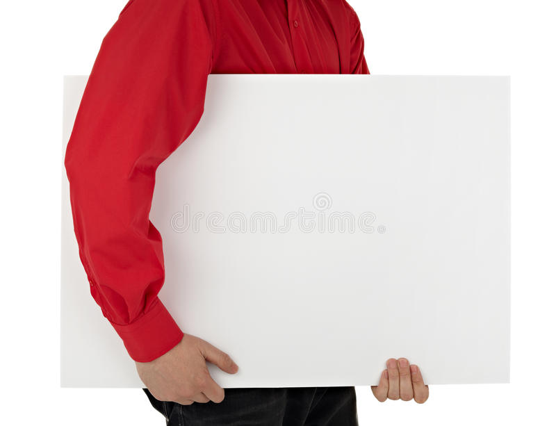 Человек в рубашке держа пустой знак стоковые фотографии rf