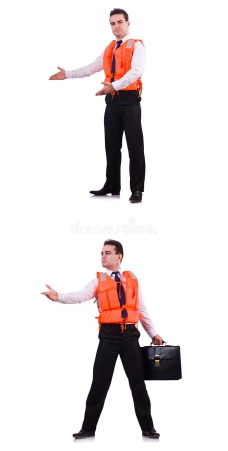 Человек в спасательном жалете изолированном на белизне стоковое изображение rf