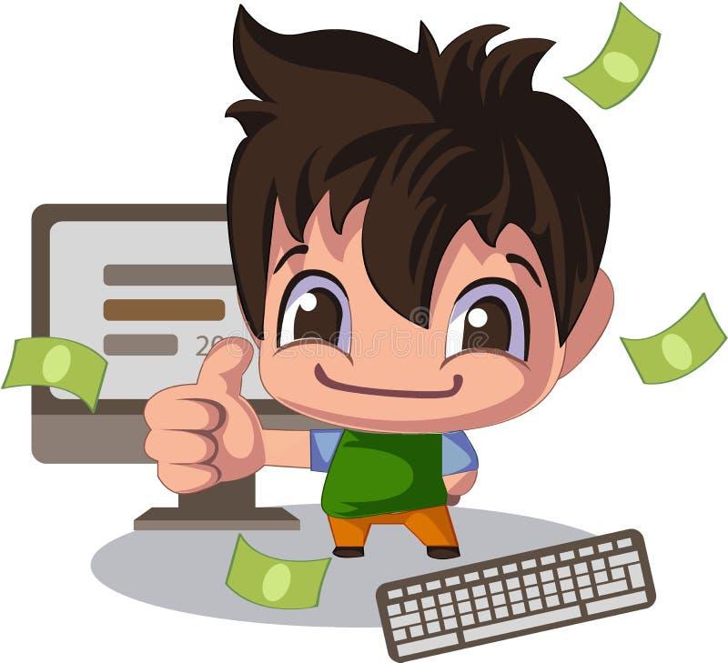 Человек в стиле шаржа, большой палец руки вверх Администраторов по сбыту или иллюстрация молодого программиста иллюстрация штока