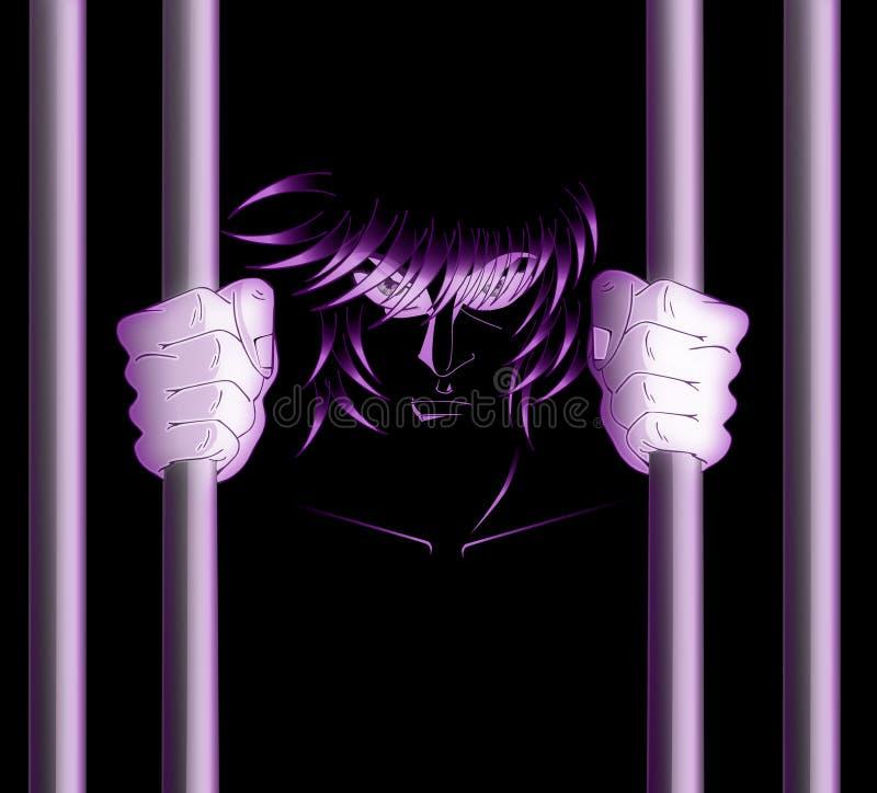 Человек в тюрьме иллюстрация штока