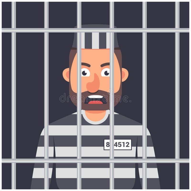 Человек в тюрьме striped форма пленника иллюстрация вектора