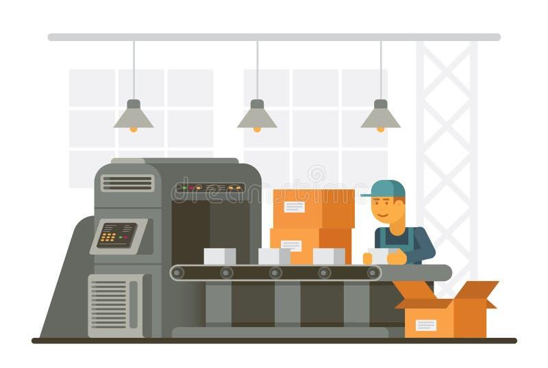 Человек в форме кладя товары в коробки пока работающ на транспортер на фабрику иллюстрация вектора