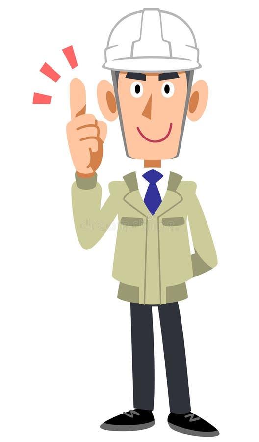 Человек в шлеме конструкции нося и указательном пальце удержания бесплатная иллюстрация