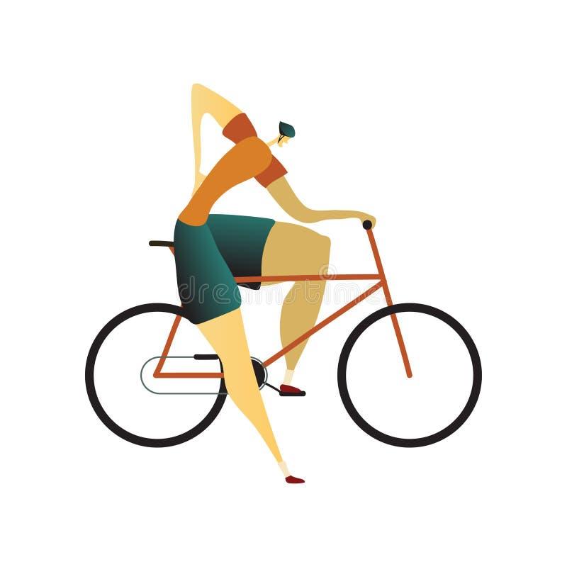 Человек в шлеме сидит велосипед и держал одну руку за его назад r бесплатная иллюстрация
