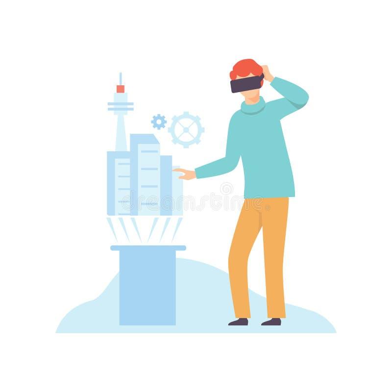 Человек в шлемофоне стекел VR используя касаться интерфейсу виртуальной реальности, современным виртуальным технологиям, новаторс иллюстрация вектора
