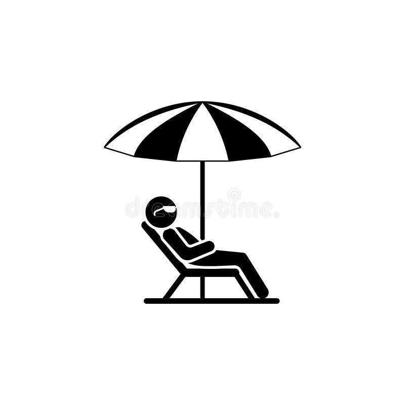Человек в deckchair и зонтике икона ослабляет иллюстрация вектора