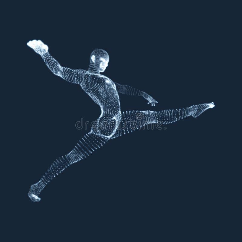 Человек гимнаста модель человеческого тела 3D Деятельности при гимнастики для здоровья значка и общины фитнеса иллюстрация штока